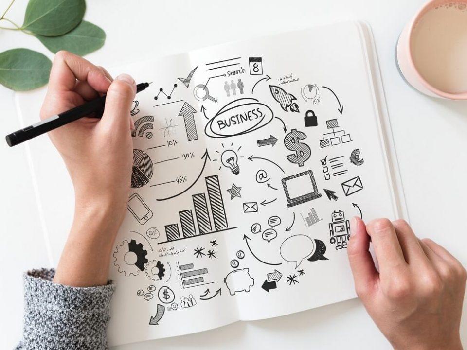 profissional desenhando grafico de planejamento de carreira e sucesso profissional